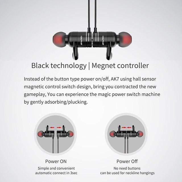 Awei AK7 Sport Earphone CVC 6.0 Cancelling Neckband Headphone Bluetooth 4.1 Magnetic Control 3