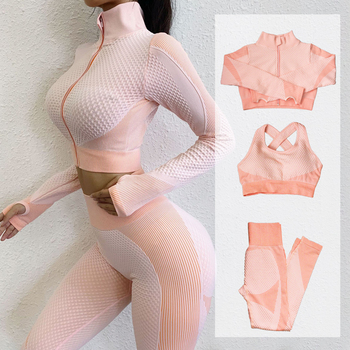 Fitness Suits Yoga Women Outfits 3pcs Sets Long Sleeve Shirt+Sport Bra+Seamless Leggings Workout Running Clothing Gym Wear,LF051 - discount item  45% OFF Sportswear & Accessories