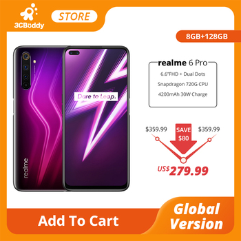 realme 6 Pro Mobile Phone 8GB RAM 128GB ROM 90Hz Global Version Snapdragon 720G 30W Flash Charge 64MP Camera Smartphone 6.6inch