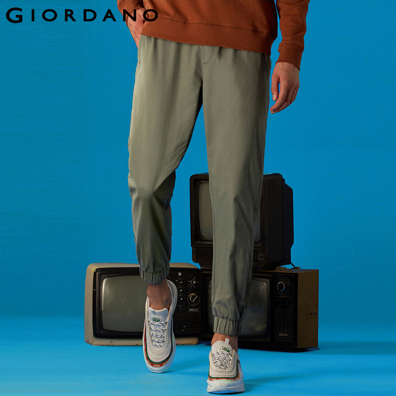 Giordano Men Pants Elastic Waistband Casual Pants Men Solid Twill Joggers Banded Cuffs Mens Trousers Pantalones Hombre