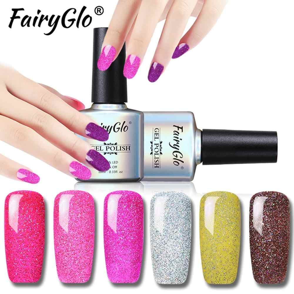 Fairyglo 10 Ml Neon Gel Nail Polish Rendam Off Bling Glitter Gel Varnish Semi Permanen UV Kuku Gel Polandia Kuku lacquer Gellak