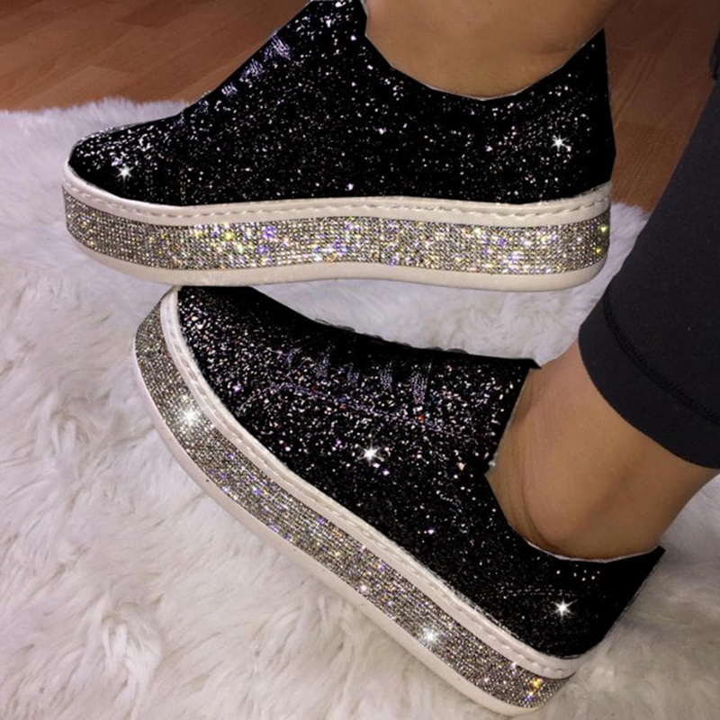 Women Flat Glitter Sneakers Casual Female Mesh Lace Up Bling Platform Comfortable Plus Size Vulcanized Shoes Knitting
