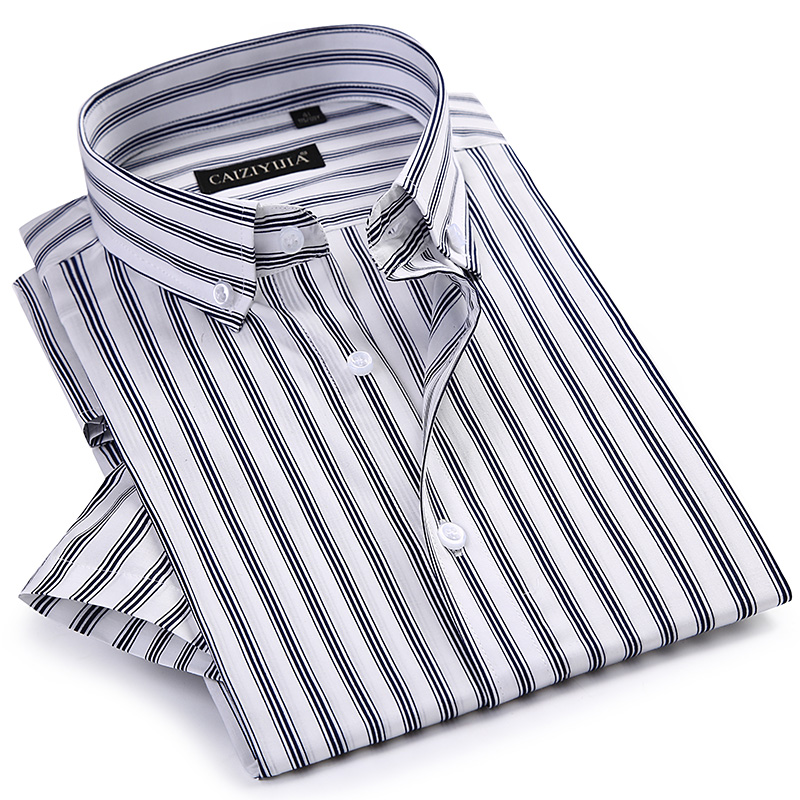 Men's Short Sleeve Striped Dress Shirts Worn-in Comfortable Breathable Cotton Summer Thin Standard-fit Button-down Casual Shirt
