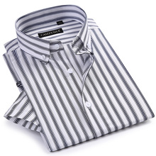 Men's Short Sleeve Striped Dress Shirts Worn-in Comfortable Breathable Cotton Su