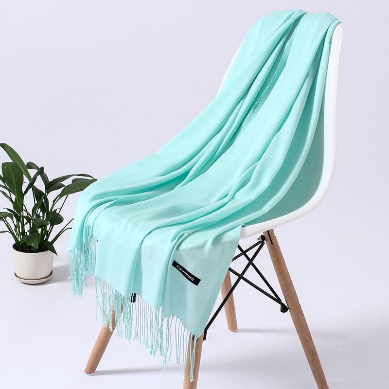 Однотонный кашемировый шарф для женщин новые длинные мягкие шали и палантины пашмины модные хиджаб с кисточками женские шейные шарфы - Цвет: 110g light green