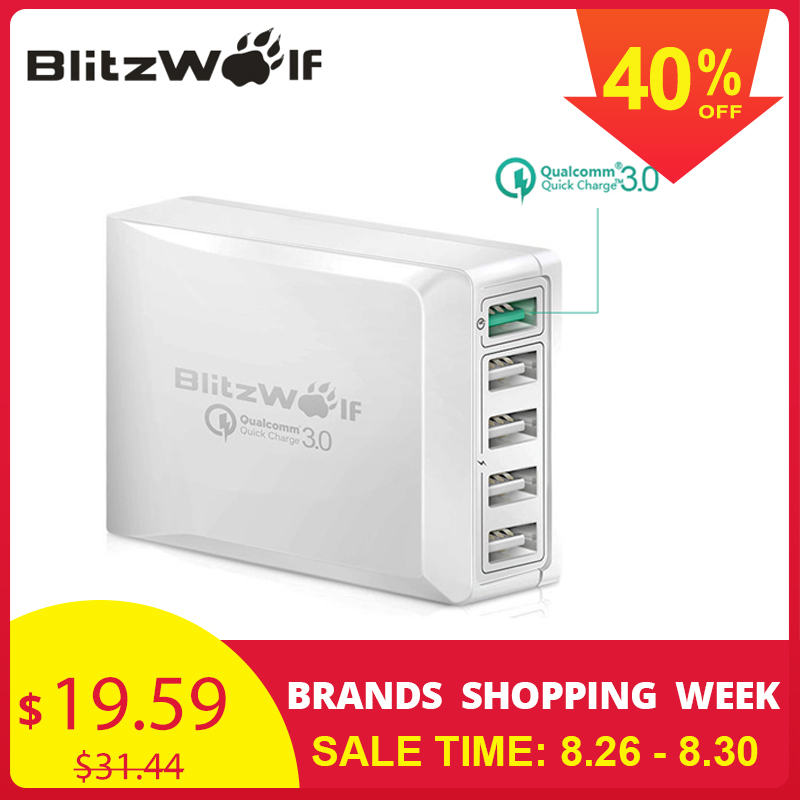 BlitzWolf BW S7 Quick Charge QC3.0 Adapter USB Charger Smart 5 Port Desktop Charger Mobile Phone Travel Charger For Smartphone