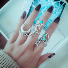 Tocona 6pcs/set Bohemian Vintage Sea Horse Knuckle Finger Ring Green Rhinestone Moon Hollow Out Wave Rings 4023 hollow out rhinestone ring