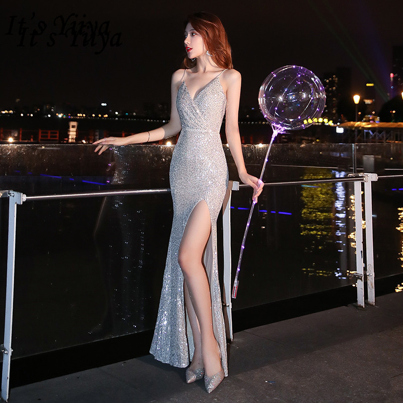 It's YiiYa Evening Dress Spaghetti Strap Sequined Split Mermaid Robe De Soiree K083 Sleeveless V-Neck Dress Woman Party