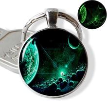 Glow The Dark Galaxy Nebula Keychain Milky Way Planet Photo Glass Dome Key Chain Car Keyholder