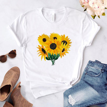 Painted Sunflower Print Women Tshirt Casual Funny T-Shirts Woman 2020 New Tees G