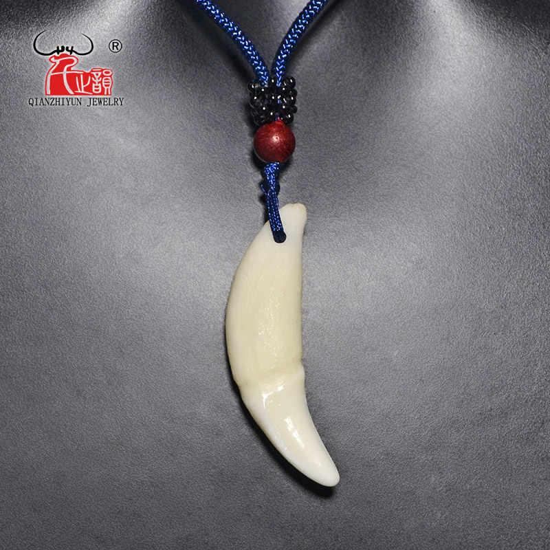גברים של אמיתי שן תליון טיבטי קמע ניבים לבן זאב שן קסם טבעי עצם אישה של שרשרת אופנה פשוט פאנק תכשיטים