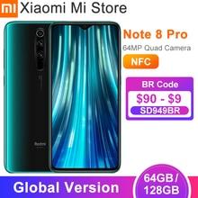 Novo Código de Comprador [MISTORES12] Em estoque versão global xiaomi redmi note 8 pro 64gb/128gb smartphone 64mp câmera 6.53