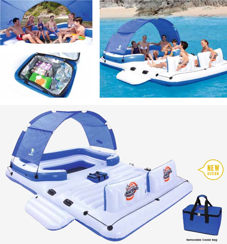 Super Giant Inflatable Pool Floating Island Thickened Swimming Sofa Seats Bed Air Mattress Water Beach Sunbathing Equipment