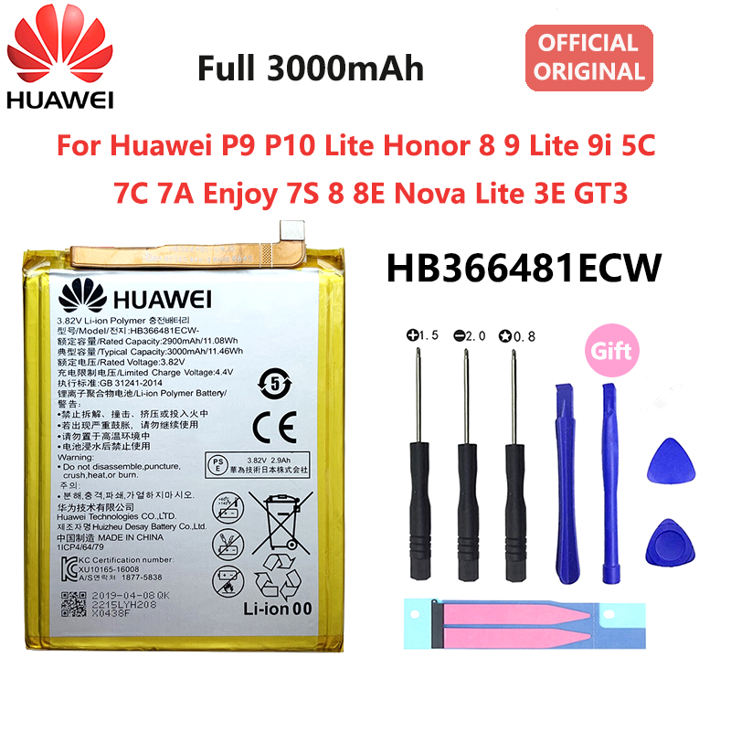 Orginal Huawei P9 P10 Lite Honor 8 9 Lite 9i 5C 7C 7A Enjoy 7S 8 8E Nova Lite 3E GT3 HB366481ECW 3000mAh Phone Battery