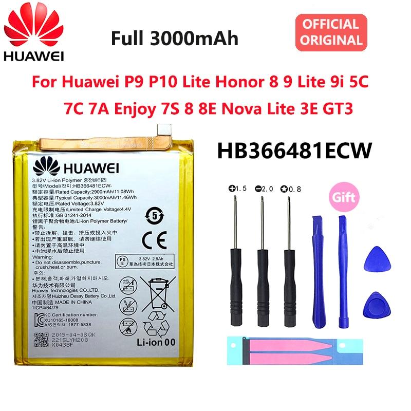 Orginal Huawei P9 P10 Lite Honor 8 9 Lite 9i 5C 7C 7A Enjoy 7S 8 8E Nova Lite 3E GT3 HB366481ECW 3000mAh Phone Battery