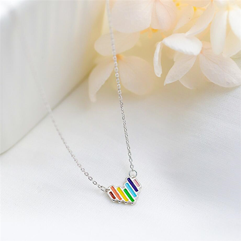 Sole Memory Cool Cute Color Heart Rainbow Art 925 Sterling Silver Clavicle Chain Female Necklace SNE450