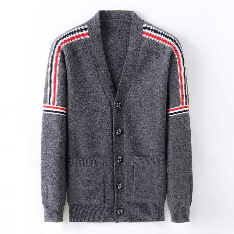 Men's Knitted Cardigan Casual V Neck Button Long Sleeve Sweaters Jacket Patchwork Male High Grade Sweater Coat 2020 Autumn New