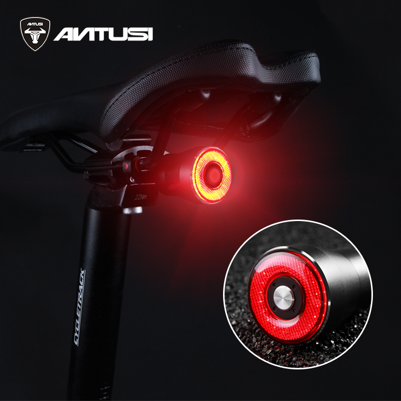 Smart BrakingTaillight Waterproof Bike USB LED Bicycle Lamp Saddle Rear Light