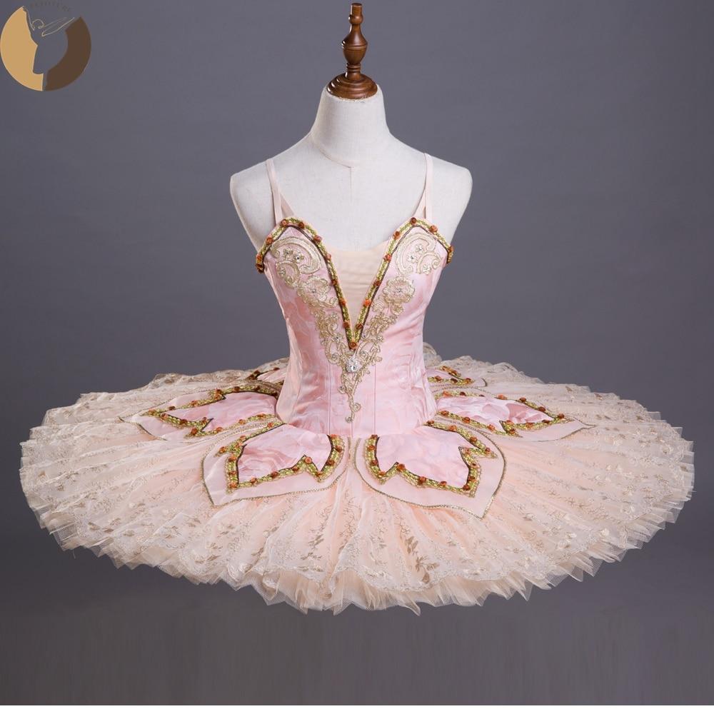 FLTOTURE Adult Ballet Pink Tutu Sugar Plum Fairy Dragee Variation Pancake Tutus Esmeralda Ballet Performance Skirt Custom Made