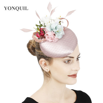 Satin Peach Fashion Bride Wedding Hat Fascinator With Flower Hair Accessories Gorgeous Women Party Headpiece Dhow Race Millinery - discount item  20% OFF Wedding Accessories