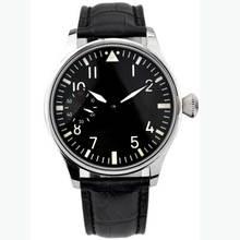 44mm Corgeut classique cadran noir marques lumineuses asie 6497 mouvement mécanique montres remontage à la main hommes montre Relogio Masculino