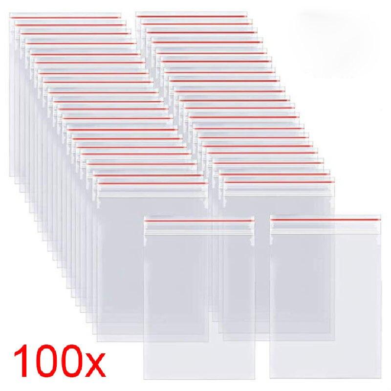 100 шт./упак. Resealable мешки замка застежка-молнии уплотнения собственной личности прозрачный Пластик поли мешок упаковка для хранения продукто...