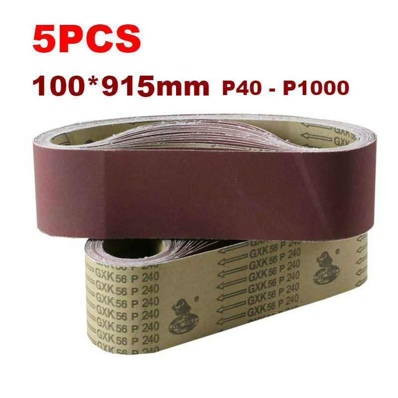 5Pcs Sanding Belts 915*100mm 40-1000 Grit Assortment Metal Grinding Aluminium Bands Polisher Oxide Sander