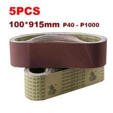 5Pcs Sanding Belts 915*100mm 40-1000 Grit Assortment Metal Grinding Aluminium Bands Polisher Oxide Sander