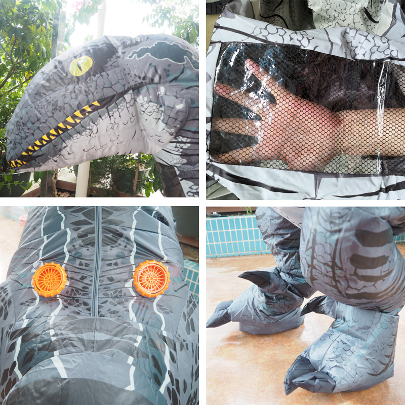 Cospaly Jurassic World Adult Velociraptor Costume Fantasy Halloween Inflatable T REX Raptor Dinosaur Party Costume for Women Men (2)