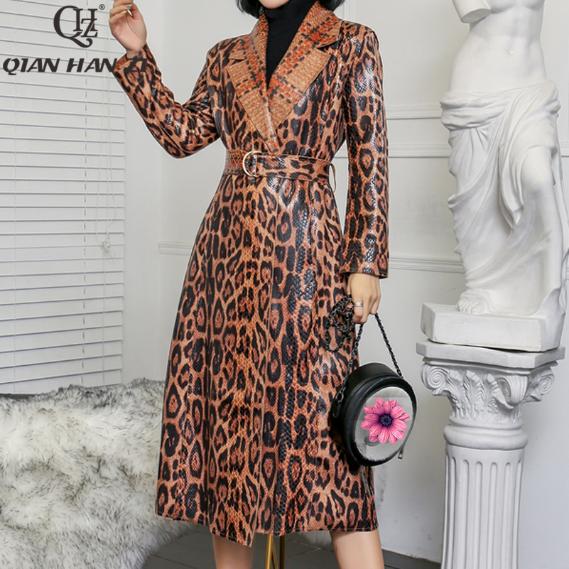 Qian Han Zi 2019 Women's Casual Leopard trench coat oversize Vintage Snake patent leather Washed Outwear Belt slim Clothing