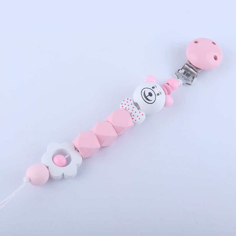 Baby Pacifier Clip Chain Infant Boys Girls Cute Cartoon Bear Flower Toys Teether Pacifier Chain Holder Baby Nipple Feeding