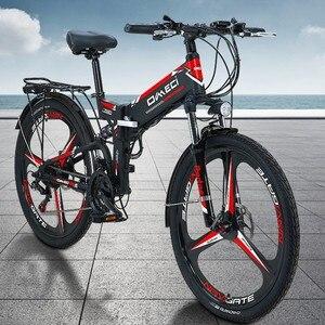 OMECI Электрический велосипед 48 В Вспомогательный горный велосипед 26 дюймов складной велосипед 21 скоростной Электрический складной велосипе...