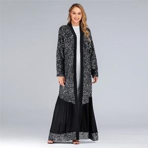Image 5 - Рамадан Эйд Мубарак абайя кимоно женский кардиган хиджаб мусульманское платье Турецкий ислам одежда искусственная кафтан халат Дубай