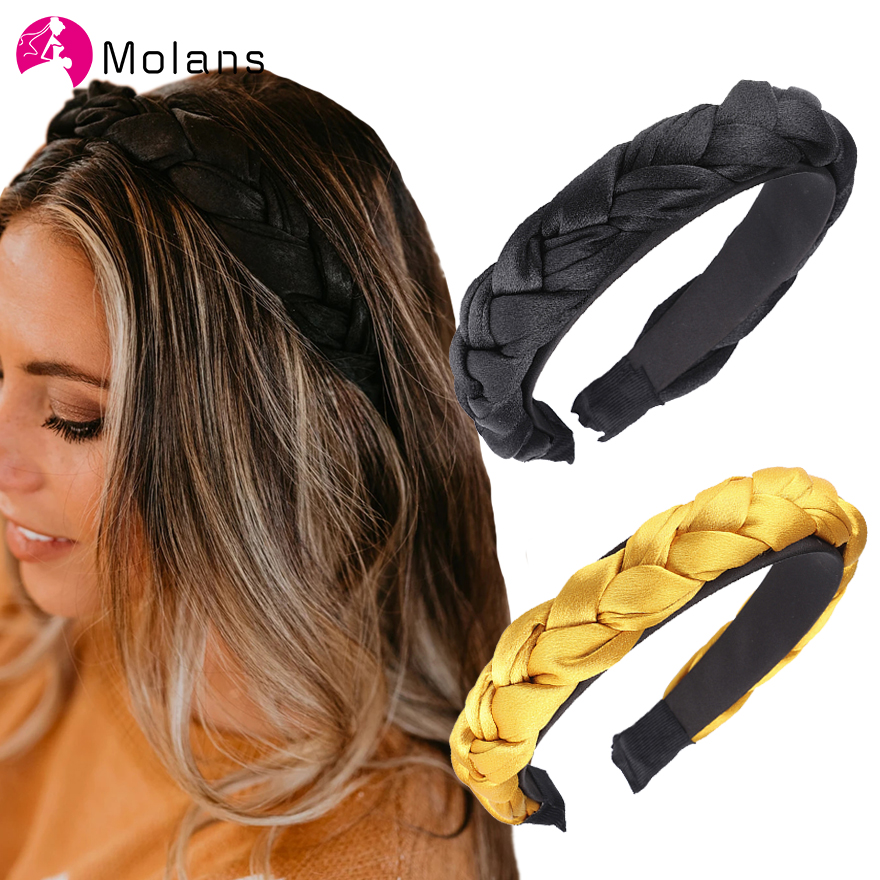 Molans Satin Braid Headbands Glossy Women Hair Headwrap Hoop Sweet Hairbands Solid Braiding Spring Girls Headbands Headpieces