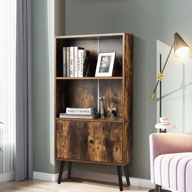 2-Tier Retro Bookcase Bookshelf w/3 Compartment 3