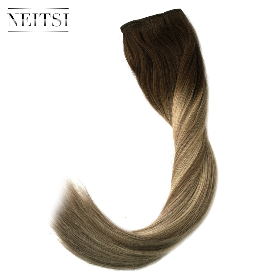 Neitsi Straight Double Drawn Remy Human Hair Weave Extensions Balayage 20