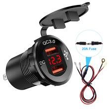 Dual QC3.0 Car USB Charger Socket Cigarette Lighter 12V-24V Power Outlet Adapter with Digital Voltmeter+Wires for Car Boat Moto