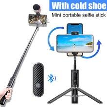 Ulanzi SK 02 pionowe strzelanie pilot Bluetooth Selfie stick bezprzewodowy Vlog statyw do Selfie Monopod przedłużyć Mic LED Light