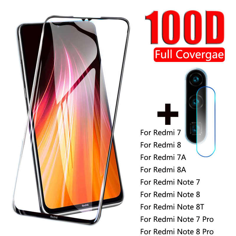 100D Full Cover Tempered Glass For Xiaomi Redmi Note 8 7 Pro 8T Camera Lens Screen Protector For Redmi 8 7 8A Protective Glass