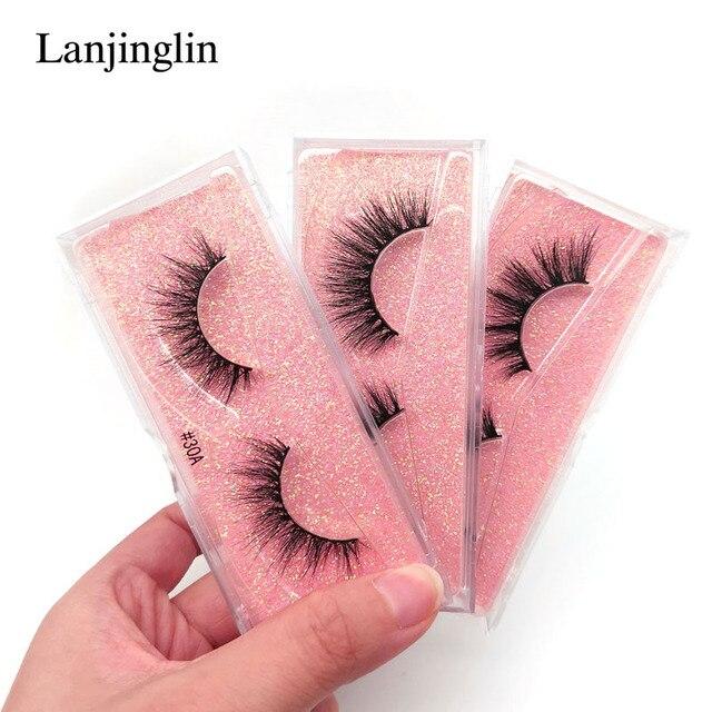 LANJINGLIN 1 pairs mink lashes 100% Cruelty free handmade natural long false eyelashes fluffy soft fake lash extension makeup 6