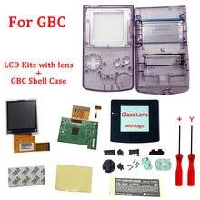 Ips v2 lcd kits com estojo de casca para gba sp ips lcd backlight tela com pré-corte escudo para gbasp console habitação com botões