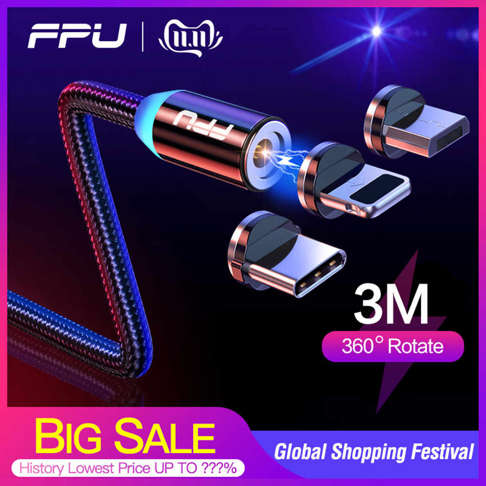 FPU 3m Magnetische Micro USB Kabel Voor iPhone Samsung Android Mobiele Telefoon Snel Opladen USB Type C Kabel Magneet charger Wire Cord