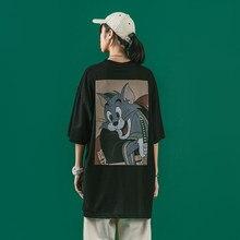 Anime americano roupas femininas 2021 verão novo goth plus size t preto manga curta camiseta gato topo perder peso roupas