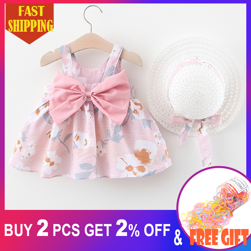 Baby Girls Dress With Hat 2020 New Summer Floral Bowknot Newborn Baby Clothing Infant Cotton Pattern Dresses Baby Girl Clothes