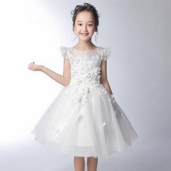 Mingli Tenga Princess Flower Girl Dress Floret Child Dress Wedding Children Three-dimensional Flower Beaded Primera Comunion New