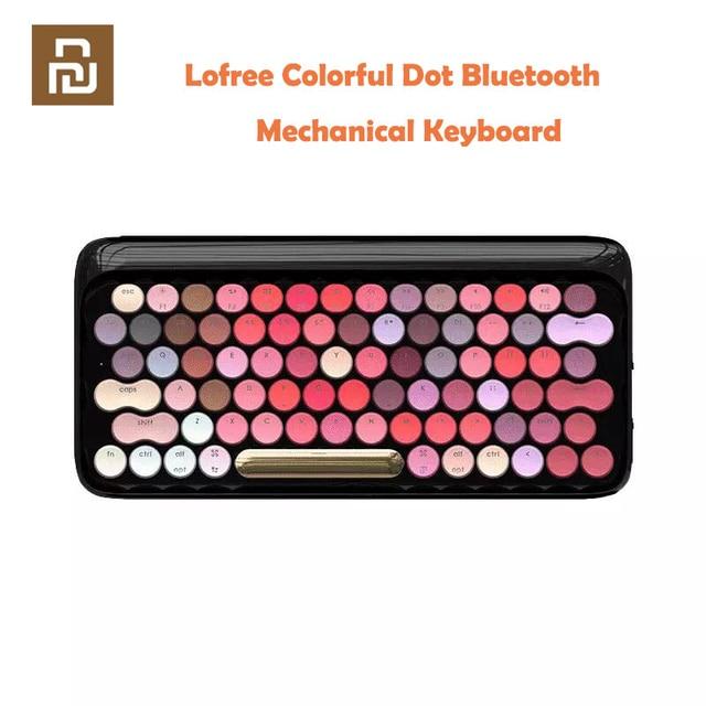 Youpin Lofree 무선 블루투스 기계식 키보드 블룸 버전 LED 백라이트가있는 매력적인 다채로운 립스틱 게임용 키보드
