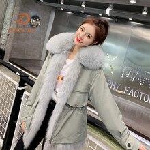 ZDFURS *2019 Winter Jacket Women Parka Rex Rabbit Fur Coat Inner Natural Fox Collar Front Thick Warm Streetwear Parkas New