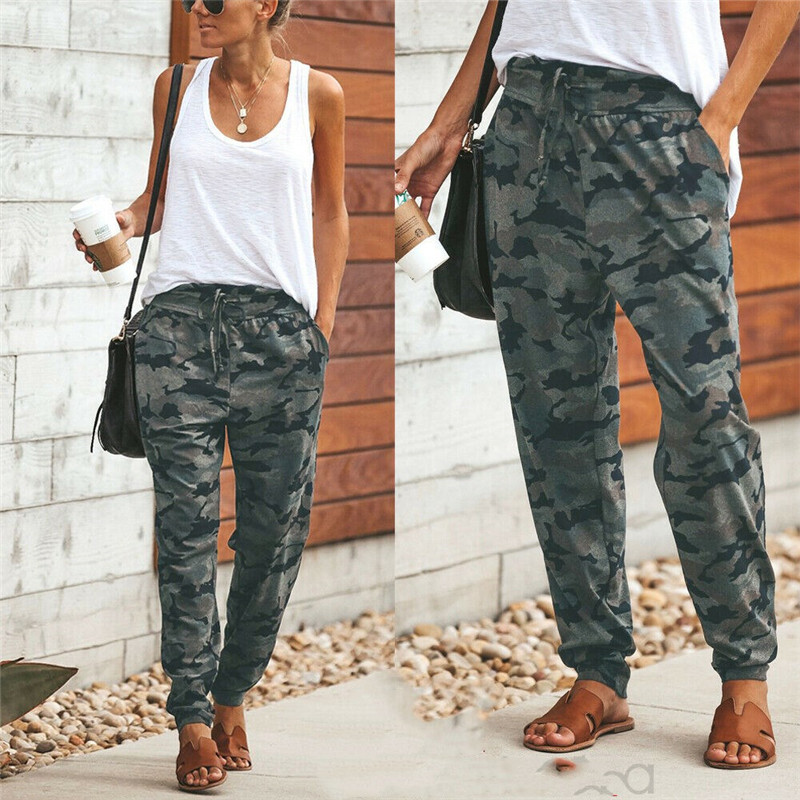 New Fashion Women Camo Cargo High Waist Pants Trousers Army Military Combat Camouflage Long Pants Ladies Fashion Cargo Pants