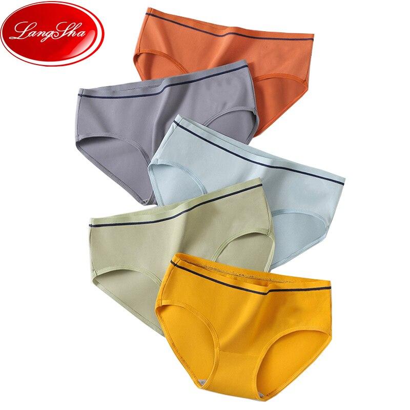 LANGSHA 3 шт./компл., хлопковые женские трусики, удобные мягкие Модные женские дышащие Бесшовные трусы с низкой талией для девочек, Трусы L XL
