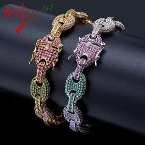 Image 2 - Topgrillz 12Mm Rainbow Cubaanse Link Armband Iced Out Mannen Hip Hop Sieraden Koper Materiaal Goud Zilver Kleur Chain armband